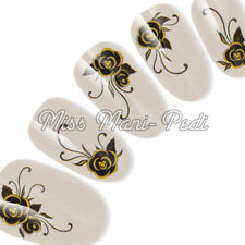 Nail Art Water Slide Decals Transfers Stickers Wraps Black & Golden Flowers H008