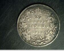 1918 Canada 25 Cents, Medium Grade Circulated .1734 oz Silver (Can-592)