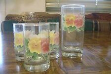Lot of 4 Corning Crisa SUMMER BLUSH Pansy Juice Water Glasses Multicolor EUC