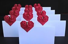 50 Blank wedding place cards, White Wedding Escort cards, Origami Hearts Cards
