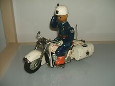 TIN TOY TINPLATE MOTORCYCLE POLICE JAPAN BATTERY GIOCATTOLO D'EPOCA IN LATTA