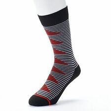 ADIDAS NEO Cushion Crew Socks,Zig Zag Striped Black / Red / Gray Men's Size 6-12