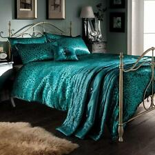 LUXURY SATIN LEOPARD PRINT TEAL KING SIZE DUVET BED SET FITTED SHEET PILLOWCASES