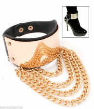Boot Chain Women's Anklet Shoe High Heel Accessory Layer Chain Gold Shiny Plate