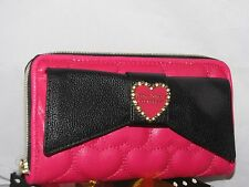 NWT Betsey Johnson fushia pink w/ big black bow Zip-around Medium clutch Wallet