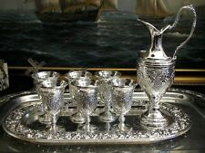 Vintage Silver Plate Set of Jug and 6 Mini Chalices Shot Glasses Tray Ornate