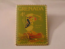 Disney Grenada DONALD DUCK Golfing Postal Stamp PIN 4¢ Golf Swing Clubs Bag 1979