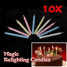 10Pcs Magic Relighting Candle Relight Birthday Party Fun Trick Cake Joke Gift