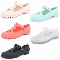 Womens Ladies T Bar Cut Out Geek Dolly School Office Work Flat Jelly Shoes Pumps