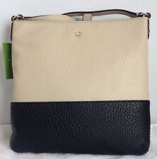 NWT Kate Spade Southport Ave Cora Leather Crossbody Buttermilk/Black + Dust Bag
