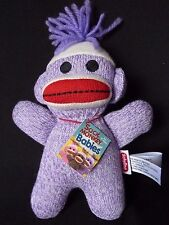 "Schylling Purple Sock Monkey Embroidered Eyes Baby Small 8"" Plush"