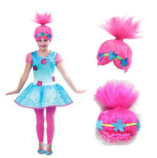 New Trolls Poppy Princess Cosplay Short Wig For Girl Party Kids Fancy Ball Props