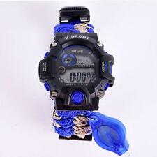 Waterproof Paracord Watch Hiking Survival Bracelet Camping Compass Flint Whistle