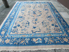 Antique Hand Made Art Deco Chinese Oriental Carpet Blue Beige Wool 360x272cm