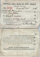 1875 CRRNJ Central New Jersey Railroad Pass Ticket
