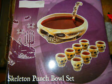 LARGE SKELETON SKULL CERAMIC PUNCH BOWL SET - HALLOWEEN HORROR DISPLAY for 8