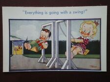 POSTCARD COMIC EVERYTHING IS GOING WITH A SWING