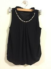 Brand New Japanese Korean Style Party Pearl Chiffon Shirt Blouse Vest Top XS