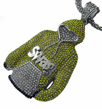 Silver Plated Swag Hoody hiphop bling Yellow CZ Rocks Pendant and chain