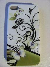 Coque Housse Etui FLEUR PAPILLONS BUTTERFLY FLOWER  Pour IPhone 4 4S