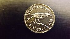 NEW ZEALAND SIXPENCE 1936 ALMOST UNC