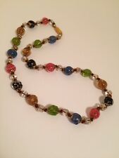 New Multi Color Beaded Murano Venetian Glass Necklace Made in Italy 17.5""