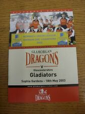 18/05/2003 Cricket Programme: Glamorgan v Gloucestershire  . Thanks for taking t