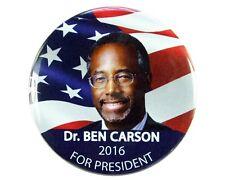"""2016 DR. BENJAMIN """"BEN"""" CARSON for PRESIDENT 2.25"""" CAMPAIGN BUTTON, bcf"""