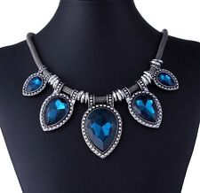 Deep Blue Crystal Vintage Statement Metal Chain Pear Stone Shape Necklace