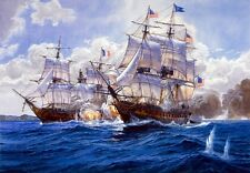 Canvas Print Ship Naval battle Oil painting Picture Printed on canvas 16X24 Inch