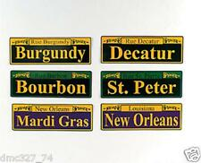 "6 MARDI GRAS Fat Tuesday Party Decor STREET SIGN CUTOUTS Decorations 4"" x 12"""