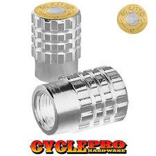 2 Silver Billet Knurled Tire Valve Cap Motorcycle - BRASS 45 AUTO - 058