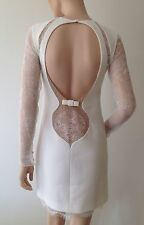 EMILIO PUCCI UK 8-USA 6 -I 40  WHITE LACE  DRESS-SHORT- WEDDING-BOW BACK-2.1K