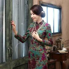 New Elegant Retro Chinese Cheongsam Dress Women Floral Qi Pao Linen Long sleeve