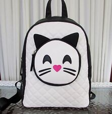 Luv Betsey Johnson Backpack Smiley Face Cat Medium Black White NWT