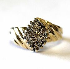 10k yellow gold diamond cluster ring .37ct SI2 K  5.6g estate vintage antique 7