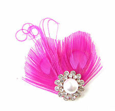 Hot Pink White Silver Peacock Feather Fascinator Hair Clip Vintage 1920s 30s 166