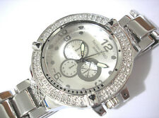 Bling Bling Big Case Hip Hop Techno King Men's Watch Silver Item 2686