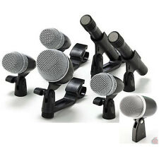 Cisno 7 Piece Drum Mic Microphone Kit  For Bass/ Tom /Snare/ Overhead  w/ Mounts