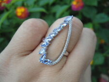 Natural Blue TANZANITE & Cubic Zirconia  925 STERLING SILVER SeXy RING Size7.75