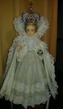 "Infant Of Prague CHURCH STATUE  Huge GLASS EYES 26"" Tall"