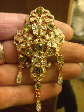 NEW LONDON DESIGNER PERIDOT CRYSTAL IMPERIAL VICTORIAN ANTIQUE STYLE BROOCH