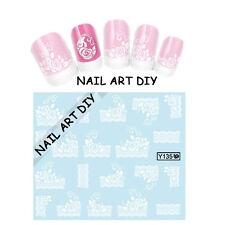 20 Adesivi per unghie FIORI bianchi con Pizzo-Stickers-Nail art water transfer !