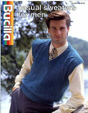 Casual Sweaters for Men - Bucilla Knitting & Crochet Pattern Volume 835