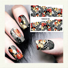 1 Sheet Nail Art Water Transfer Sticker Decal Manicure Flower Triangle Theme DIY