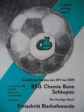 Programma 1985/86 BSG Chemie Buna Schkopau-Bischofswerda