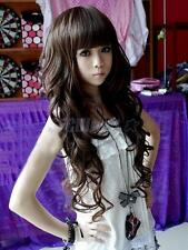 Sexy Women's Girls Wavy Curly Long Hair Girl Full Wigs Dark Brown Fashion Style