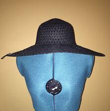 *NEW Packable Roll Up Wide Brim Sun Visor Beach Floppy Garden Summer Hat Black