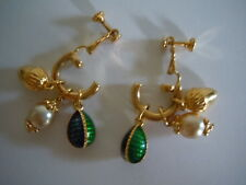RARE & STUNNING ! VINTAGE JOAN RIVER REMOVABLE EGG CHARMS SCREW BACK EARRINGS