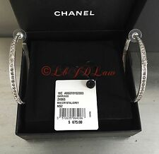 "NWT CHANEL Silver Black Grey CRYSTAL CC 2.5"" XL Hoop Pierced Earring $750 Studs"